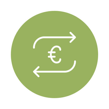 Euro sign with arrows illustration.