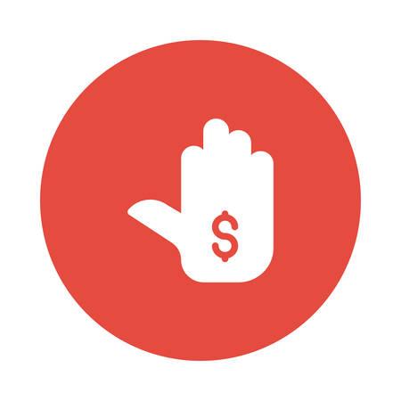Hand met het pictogramillustratie van het geldsymbool.
