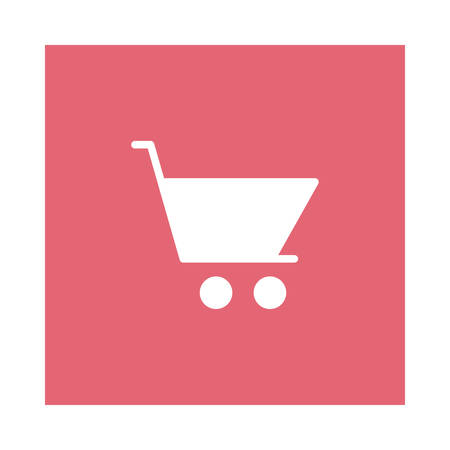 Shopping cart icon on pink background, vector illustration.