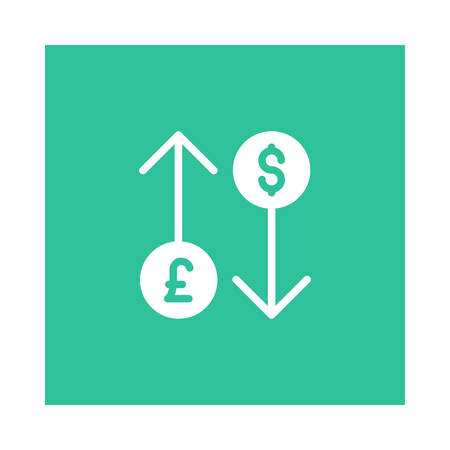 A dollar and pound icon on green background, vector illustration. Stock fotó - 89492676
