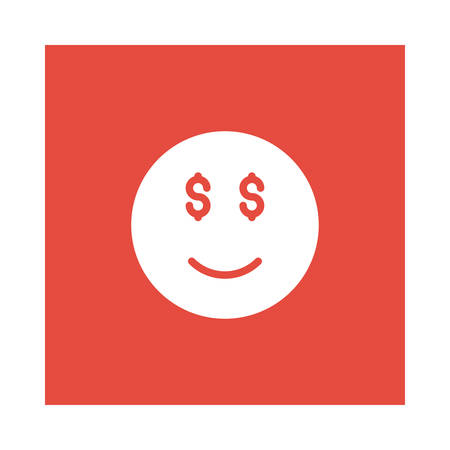 A smiley with dollar icon on red background, vector illustration.