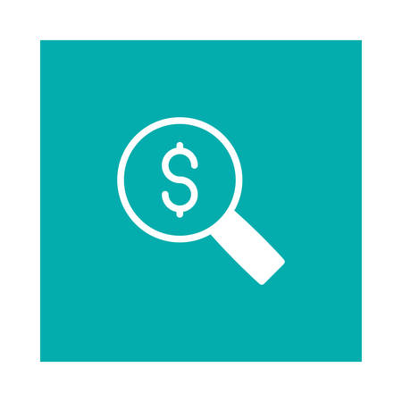 A dollar with magnifying glass icon on green background, vector illustration.