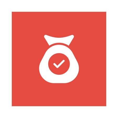 Poutch with check icon. Ilustração