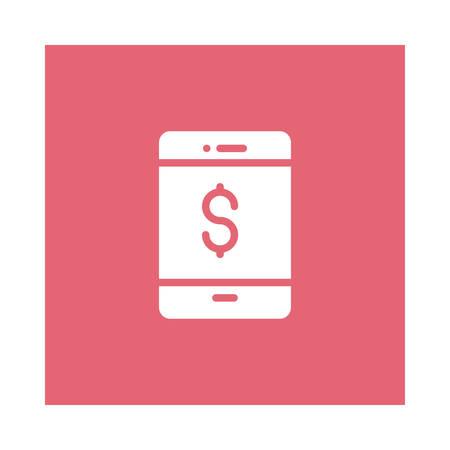 Een dollar met mobiel telefoonpictogram op roze achtergrond, vectorillustratie.