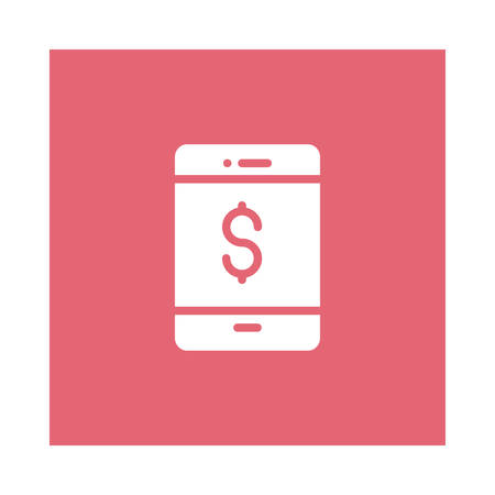 A dollar with mobile phone icon on pink background, vector illustration. Illustration
