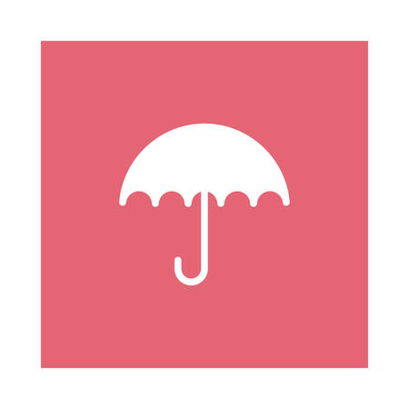 An umbrella icon on pink background, vector illustration.