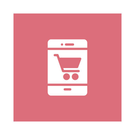 A shopping cart with mobile phone on pink background, vector illustration.