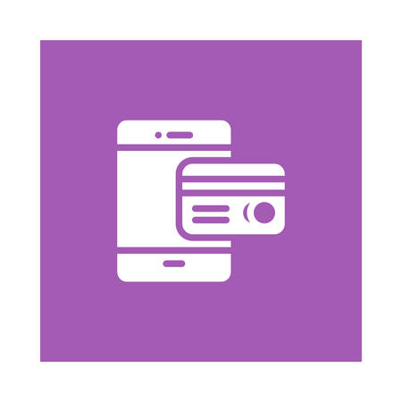 An atm card with mobile phone icon on purple background, vector illustration.