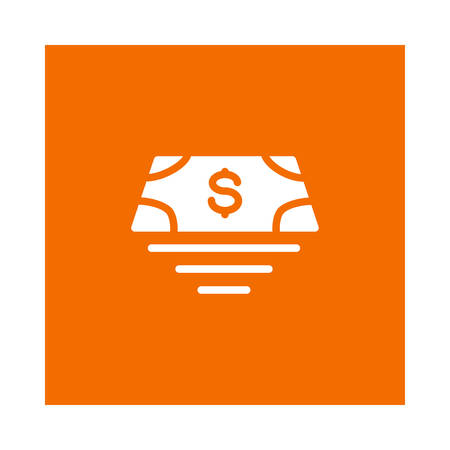 Een geldpictogram op oranje achtergrond, vectorillustratie.