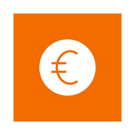 A euro coin icon on orange background, vector illustration.