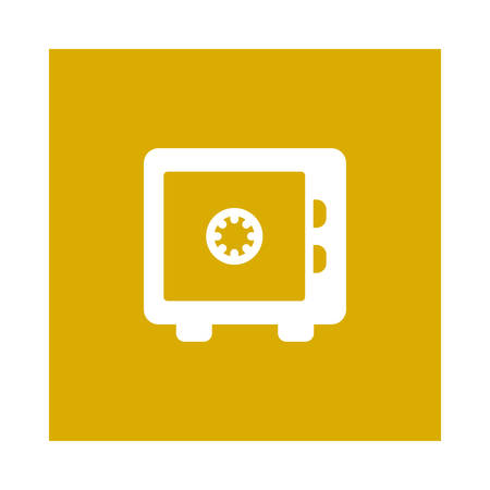 A secured box icon on yellow background, vector illustration. Illustration