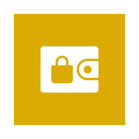 A wallet with lock icon on yellow background, vector illustration.