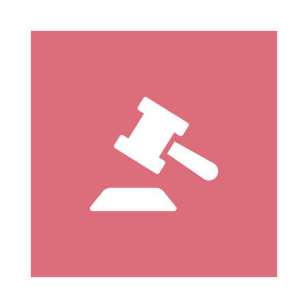 Een hamer in wet pictogram op roze achtergrond, vectorillustratie.