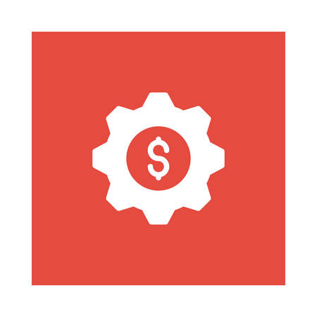 A settings with dollar sign icon on red background, vector illustration. Illustration
