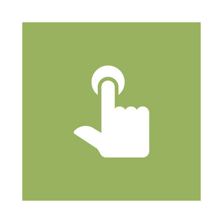 A tap icon on green background, vector illustration. Illustration