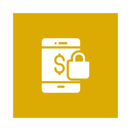 A mobile with lock and dollar icon on yellow background, vector illustration. 向量圖像