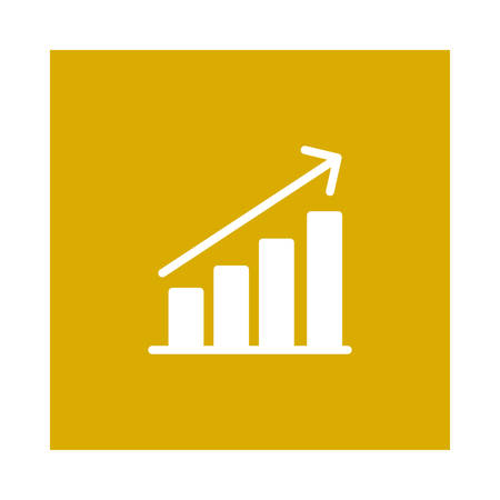 A growth chart icon on yellow background, vector illustration.