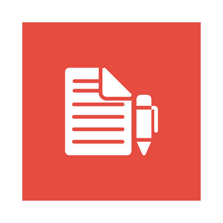 A pen with document icon on red background, vector illustration.