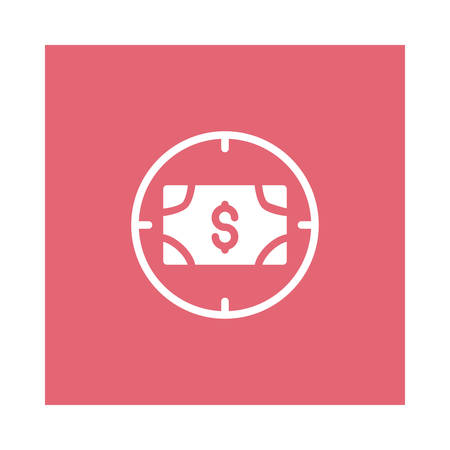An aim with dollar icon on pink background, vector illustration. Illustration
