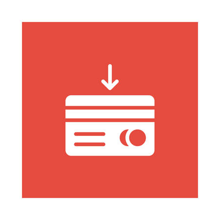 An atm card icon on red background, vector illustration.