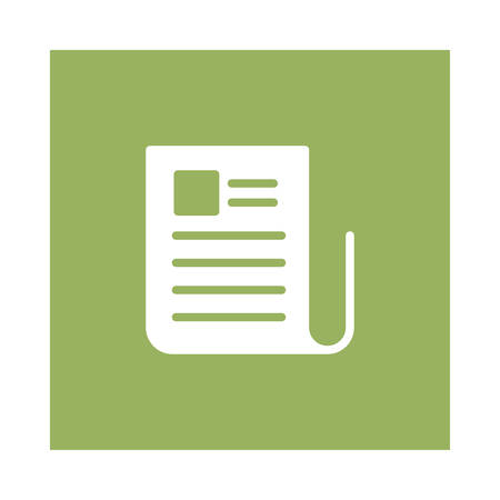A newspaper icon on green background, vector illustration. Çizim