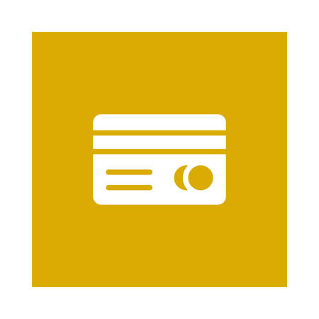 An atm card icon on yellow background, vector illustration.