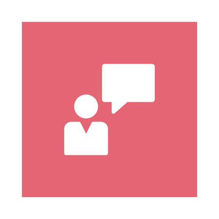 A comment icon on pink background, vector illustration.