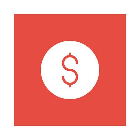 Een dollar winst pictogram op rode achtergrond, vectorillustratie.