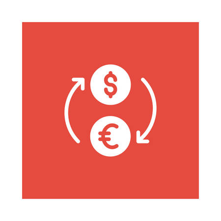 A dollar exchange icon on red background, vector illustration.