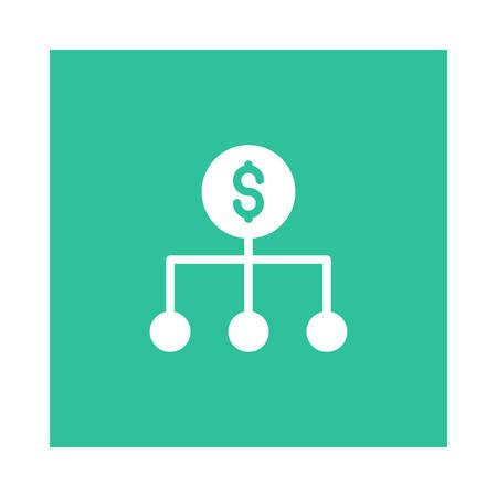 A network icon on green background, vector illustration. Ilustração