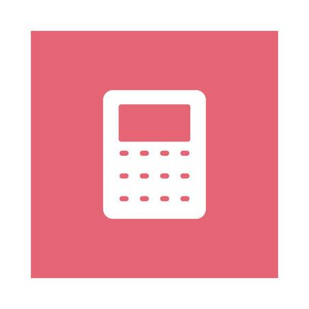 A calculator icon on pink background, vector illustration. Ilustração