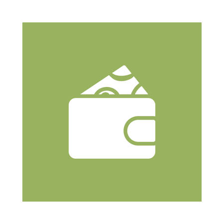 A wallet with money icon on green background, vector illustration.