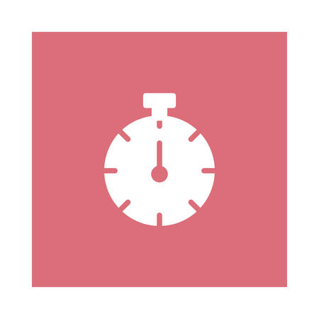 A timer icon on pink background, vector illustration.