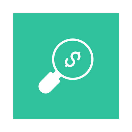 A search with dollar sign icon on green background, vector illustration.