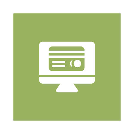 Bank lcd screen icon on green background, vector illustration.