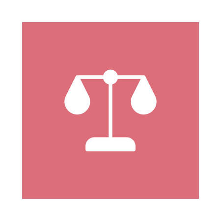 A justice icon on pink background, vector illustration.