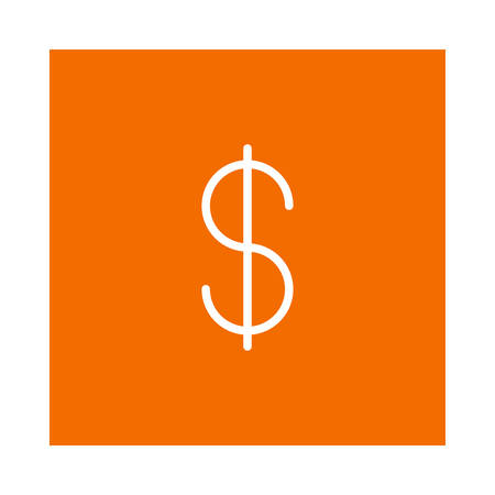 Dollar currency icon on orange background, vector illustration. Illustration