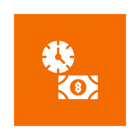A time with money icon on orange background, vector illustration. Illustration