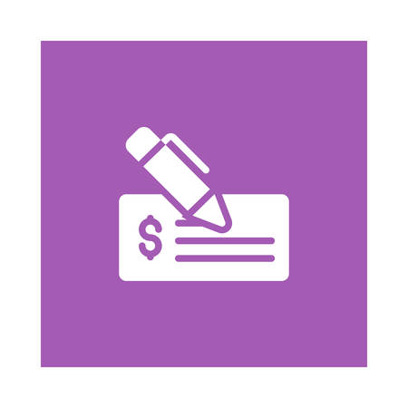 A pencil with document on purple background, vector illustration.
