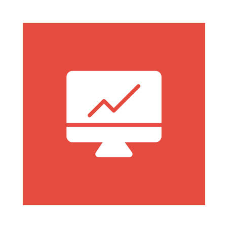 A chart icon on red background, vector illustration.