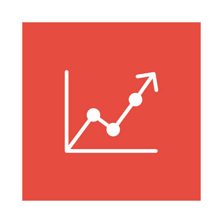 A graph icon on red background, vector illustration.
