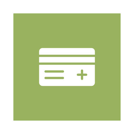 A credit card icon on green background, vector illustration.