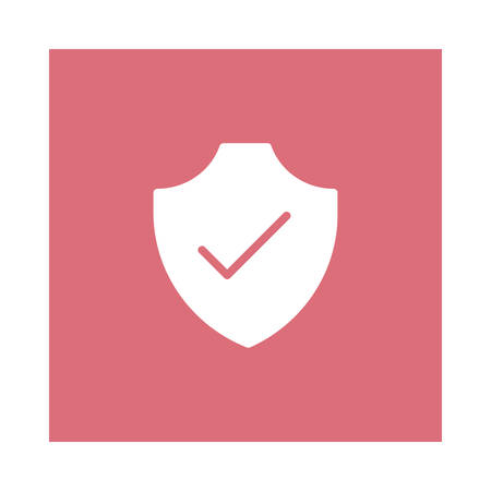 A shield with check icon on pink background, vector illustration. Zdjęcie Seryjne - 89495371