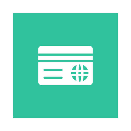 A card icon on green background, vector illustration. Ilustrace