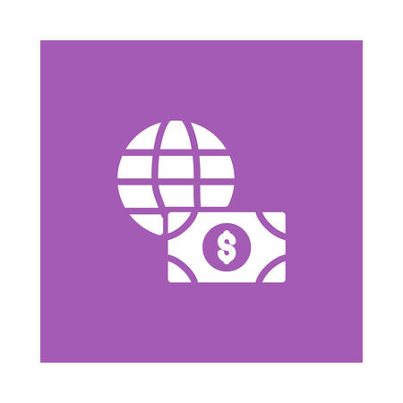 A globe with money icon on purple background, vector illustration.