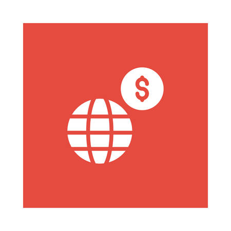 A global with dollar sign icon on red background, vector illustration.