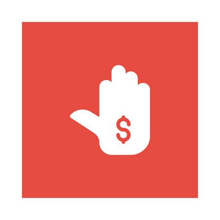 Een hand met dollarteken pictogram op rode achtergrond, vectorillustratie.