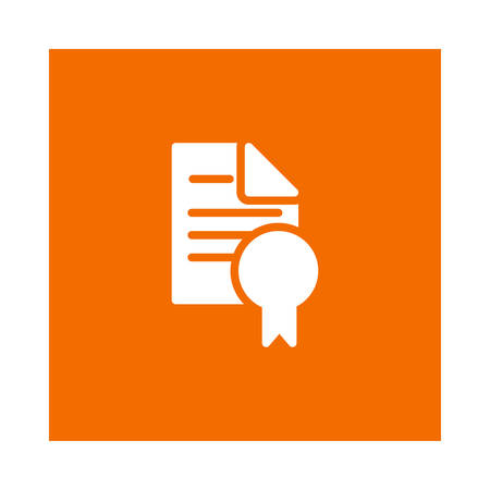 A diploma icon on orange background, vector illustration. Ilustrace