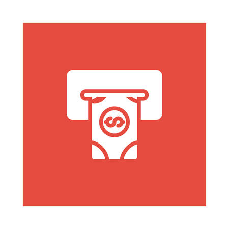 A cash out icon on red background, vector illustration.