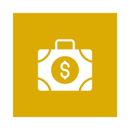 A portfolio icon on yellow background, vector illustration.